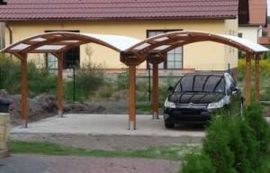 Металлический сварной навес для двух автомобилей